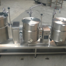 3 tilting cooking kettles
