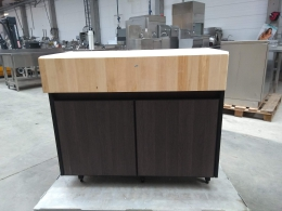 Wooden cabinet with butcher block